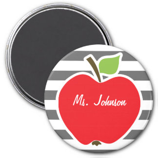 Apple on Dim Gray Horizontal Stripes 3 Inch Round Magnet