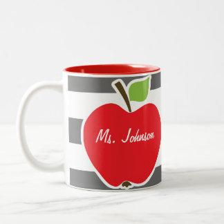 Apple on Dim Gray Horizontal Stripes Coffee Mugs