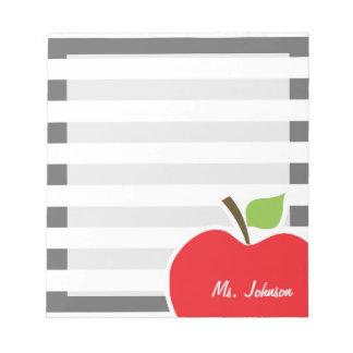 Apple on Dim Gray Horizontal Stripes Notepad