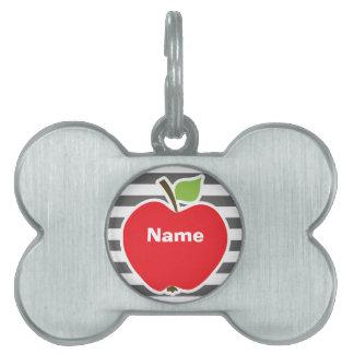 Apple on Dim Gray Horizontal Stripes Pet Tag
