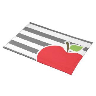 Apple on Dim Gray Horizontal Stripes Placemat