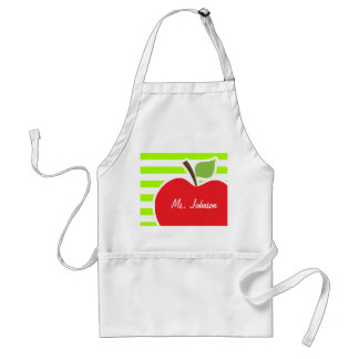 Apple on Electric Lime Green Horizontal Stripes Adult Apron