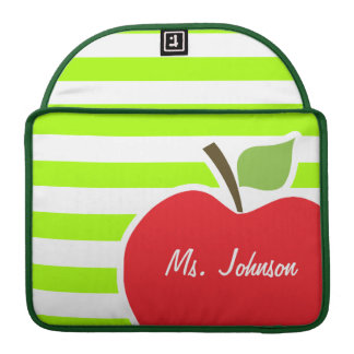 Apple on Electric Lime Green Horizontal Stripes MacBook Pro Sleeves