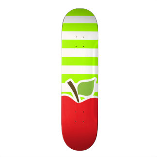Apple on Electric Lime Green Horizontal Stripes Skateboard