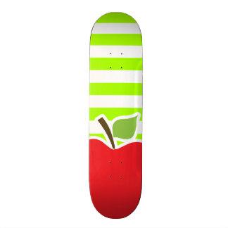 Apple on Electric Lime Green Horizontal Stripes Skate Decks