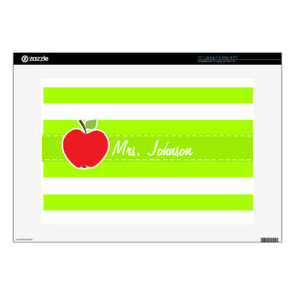 Apple on Electric Lime Green Horizontal Stripes Laptop Skins