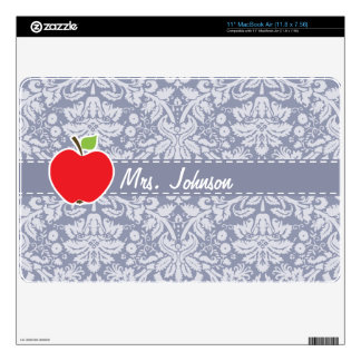 Apple on Gray-Blue Damask MacBook Air Skins