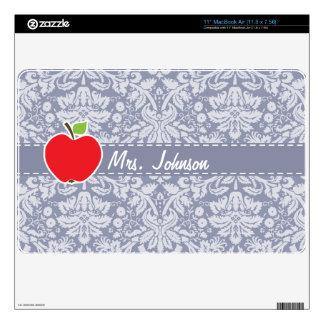 Apple on Gray-Blue Damask MacBook Air Skins