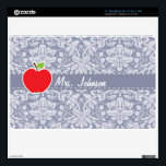 """Apple on Gray-Blue Damask Skin For The MacBook Air<br><div class=""""desc"""">You will love this cute, red apple, teacher themed Gray-Blue Damask pattern design! This red apple design is a great gift for the world&#39;s best teacher or professor! Visit our store, Baby Shower Boutique, to view this cool, trendy pattern on many more customizable products, including modern teacher baby shower invitation...</div>"""