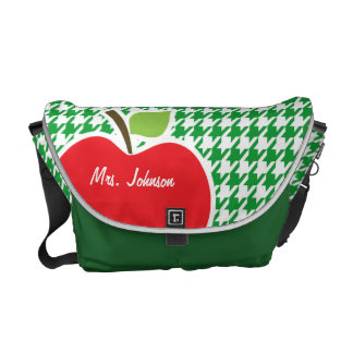 Apple on Kelly Green Houndstooth Courier Bags