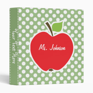 Apple on Laurel Green Polka Dots 3 Ring Binder