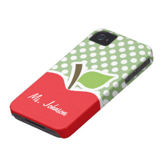 Apple on Laurel Green Polka Dots iPhone 4 Covers