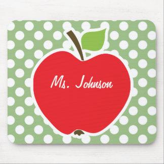 Apple on Laurel Green Polka Dots Mouse Pad