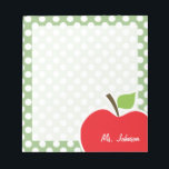 """Apple on Laurel Green Polka Dots Notepad<br><div class=""""desc"""">You will love this cute, red apple, teacher themed Laurel Green Polka Dots pattern design! This red apple design is a great gift for the world&#39;s best teacher or professor! Visit our store, Baby Shower Boutique, to view this cool, trendy pattern on many more customizable products, including modern teacher baby...</div>"""