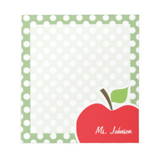 Apple on Laurel Green Polka Dots Notepad