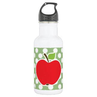 Apple on Laurel Green Polka Dots 18oz Water Bottle