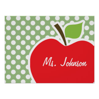 Apple on Laurel Green Polka Dots Print