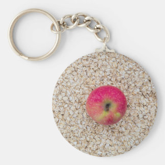 Apple on oatmeal keychain