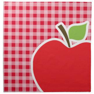 Apple on Retro Scarlet Red Gingham Napkin