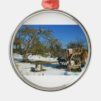 Apple Orchard and Snow Metal Ornament
