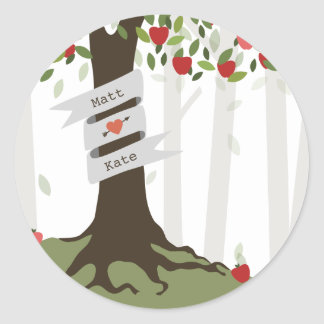 Apple Orchard Fall Autumn Wedding Classic Round Sticker