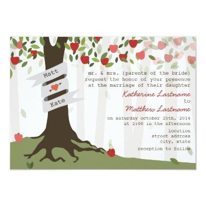 "Apple Orchard Fall Autumn Wedding Invitation 5"" X 7"" Invitation Card"