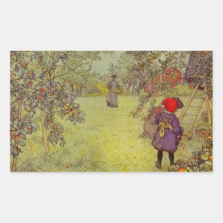 Apple Orchard Harvest Rectangular Sticker