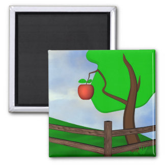 Apple Orchard 2 Inch Square Magnet