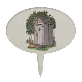 Apple Orchard Outhouse Cake Topper