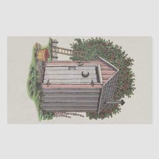 Apple Orchard Outhouse Rectangular Sticker