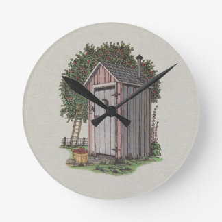 Apple Orchard Outhouse Round Wallclocks