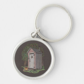 Apple Orchard Outhouse Silver-Colored Round Keychain