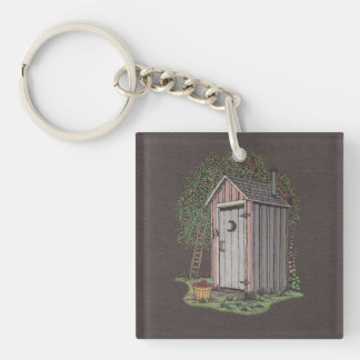 Apple Orchard Outhouse Single-Sided Square Acrylic Keychain