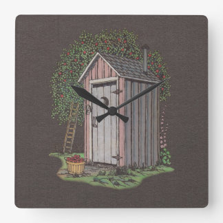 Apple Orchard Outhouse Square Wall Clock