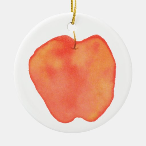 Apple Double-Sided Ceramic Round Christmas Ornament