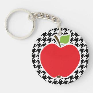 Apple para el profesor en Houndstooth negro y blan Llaveros