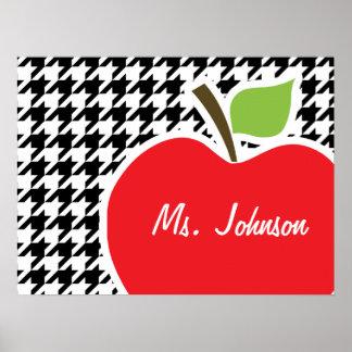 Apple para el profesor en Houndstooth negro y blan Poster