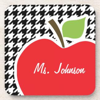 Apple para el profesor en Houndstooth negro y blan Posavasos De Bebida