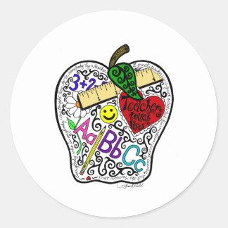 Apple para el profesor pegatina redonda