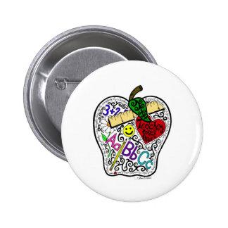 Apple para el profesor pin redondo de 2 pulgadas