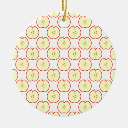 Apple pattern. Double-Sided ceramic round christmas ornament