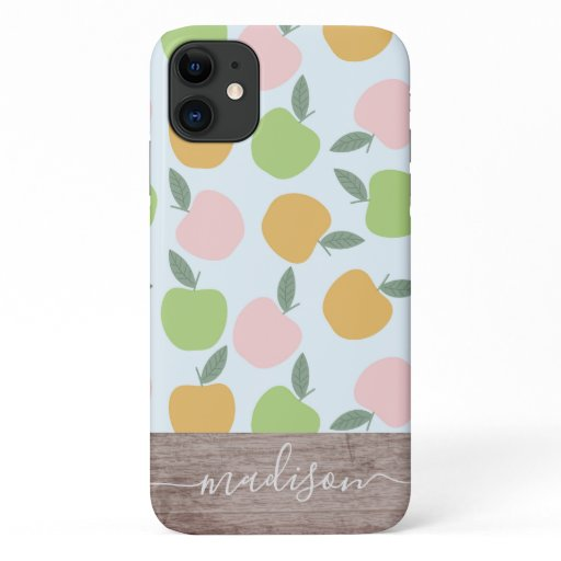 Apple Pattern Wood Script Name iPhone 11 Case