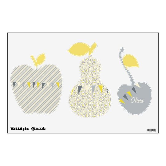 Apple Pear Cherry Gray Yellow Bunting Wall Decal