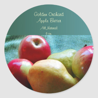 Apple Pear Delight Canning Labels Classic Round Sticker