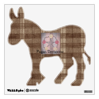 Apple Pentacle Wreath Brown Plaid Pagan Democrat Wall Decal