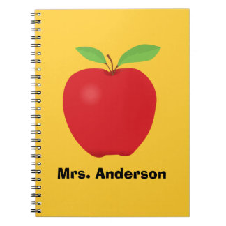 Apple personalized with teacher name notebook