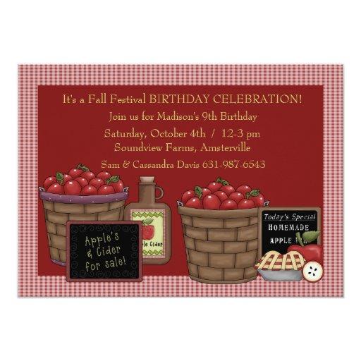 "Apple Picking Time - Birthday Party  Invitation 5"" X 7"" Invitation Card"