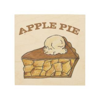 Apple Pie a La Mode Americana Baking Food Kitchen Wood Wall Art