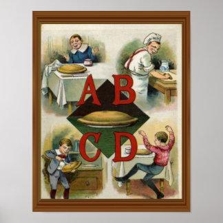 Apple Pie Alphabet 19th Century Illustration Art Poster