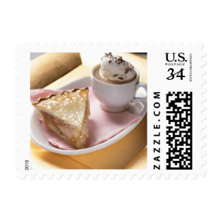 Apple pie and hot cocoa postage stamp